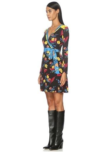 Diane Von Furstenberg Uzun Kollu Çiçekli Elbise Renkli